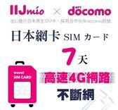 (24小時出貨) IIJ官方訊號7天日本網卡,採用docomo訊號,北海道、沖繩皆覆蓋