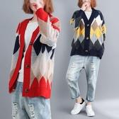 寬鬆胖MM慵懶風洋氣減齡毛衣開衫秋冬裝 彩色菱形格子針織慵懶 萬聖節鉅惠