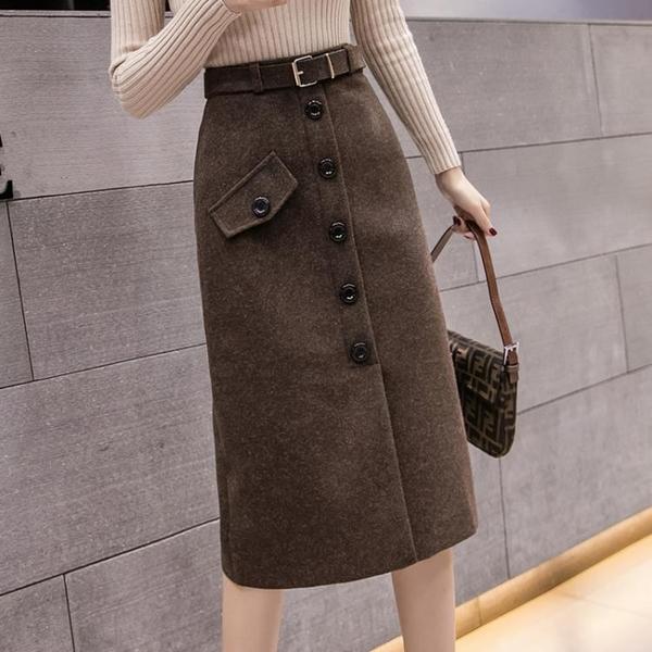 毛呢裙 毛呢半身裙中長款女高腰2021秋冬季新款黑色百搭a字顯瘦一步裙潮 歐歐