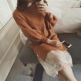 網紗裙 打底內搭黑色蕾絲半身裙中長款網紗鬆緊腰百搭2019新款女襯裙【星時代女王】