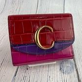 BRAND楓月 CHLOE 紅色 紫色 粉色 拚色 金色C字 鱷魚壓紋 雙開 短夾 皮夾 錢包