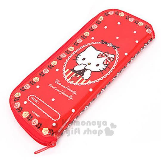 〔小禮堂韓國館〕Hello Kitty 全開式拉鍊餐具袋《紅.蘋果.玫瑰邊框》環保方便攜帶8806365-05975