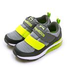 LIKA夢 KangaROOS 雙黏帶氣墊慢跑鞋 JOEY藍標袋鼠鞋 灰螢黃 91388 中童