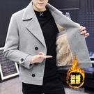 水貂絨外套男士冬季毛呢大衣外套短款風衣修身加絨加厚青休閒水貂絨西 快速出貨