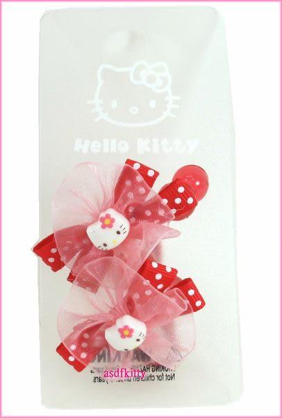 個人 嬰童用品【asdfkitty可愛家】KITTY紅水玉蝴蝶結髮束/髮圈-歐美版正版商品