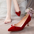 酒紅色秀禾鞋婚鞋2020年新款冬季絨面高跟鞋女細跟珍珠中式新娘鞋 後街五號