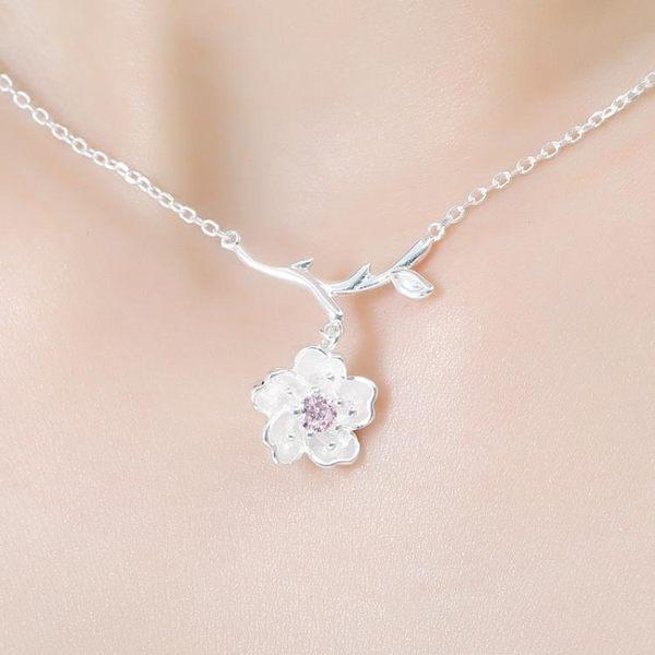天天簡約甜美清新鎖骨鏈正韓925 可愛櫻花項鍊鎖骨鏈銀飾 生日禮物