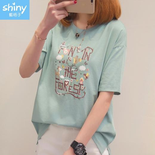 【V9335】shiny藍格子-可愛春感.小鹿小鳥字母印花圓領短袖上衣
