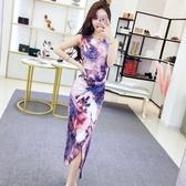 夏季新款女韓版氣質名媛V領印花開叉長裙修身顯瘦無袖洋裝
