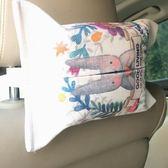車載紙巾盒棉麻布藝紙巾袋家用車內紙巾盒簡約汽車抽紙盒套車載掛式紙巾盒-美物居家館