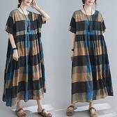 洋裝 中大尺碼女裝 2021夏季新款文藝復古大碼胖妹妹短袖中長款寬鬆顯瘦連身裙子
