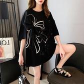 中大碼上衣 2021年新款夏季蝴蝶結短袖T恤女網紅設計感小眾上衣大碼韓版ins潮 非凡小鋪