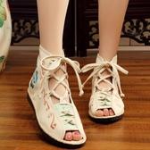 老北京女鞋 民族風繡花鞋平底魚嘴復古系帶涼鞋古風漢服配鞋女單鞋