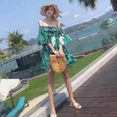 一字領荷葉邊露肩碎花寬鬆連身裙短裙巴厘島沙灘裙女夏2018新款   初見居家