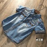 (萬聖節鉅惠)男童短袖襯衫童裝新品男童襯衫短袖 兒童牛仔襯衫寶寶休閒素面夏裝薄款牛仔衣