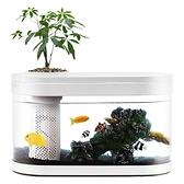 水族箱 畫法幾何招財兩棲生態懶人金魚缸免換水造景客廳小型 晶彩 99免運LX