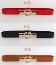 得來福皮帶,H346皮帶設計感百搭金色雙圓圈對扣細腰帶皮帶,售價168元