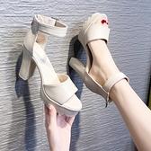 涼鞋2021年新款女夏季粗跟防水臺魚嘴時尚網紅一字扣高跟鞋ins潮6