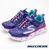 Skechers LAXY LIGHTS紫粉星星造型黏帶發光鞋 中童 10920LPRMT【Speedkobe】