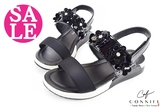 女童涼鞋 真皮吸汗 立體花朵造型 氣質 CONNIFE休閒涼鞋 零碼出清 I6579#黑色◆OSOME奧森鞋業