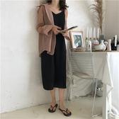 梨卡 - 夏季寬鬆簡約百搭黑色V領細肩帶洋裝連身裙長洋裝長裙中長版黑裙連身裙BR250