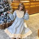蘿莉裝lolita裙冬裝女日系新款少女中長款可愛木耳邊娃娃裙很仙的洋裝 NMS蘿莉小腳丫
