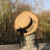 刺繡遮陽草帽 蝴蝶結休閒漁夫帽沙灘度假盆帽子m9