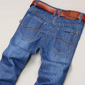 男士牛仔褲男褲子寬鬆直筒淺色冰絲休閒新款潮牌夏季薄款彈力男褲 酷男精品館