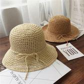 韓國兒童草帽女童遮陽沙灘帽防曬漁夫帽子春夏海邊手工編織親子帽