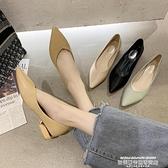 熱賣低跟鞋 尖頭單鞋女年秋季新款粗跟3cm小跟低跟淺口時尚百搭OL工作鞋 夏季新品
