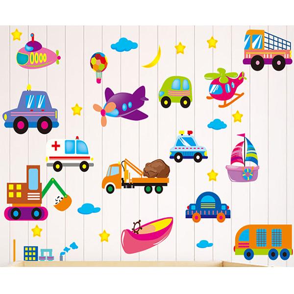 卡通小汽車XL2008新款壁貼 兒童房裝飾 救護車 飛機 直昇機 吊車  居家裝飾【YV0655-1】BO雜貨