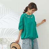 【慢。生活】圓領刺繡抽繩上衣 21046 FREE綠色