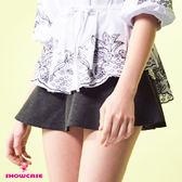 【SHOWCASE】學院風厚磅金飾腰帶收臀短褲裙(黑)