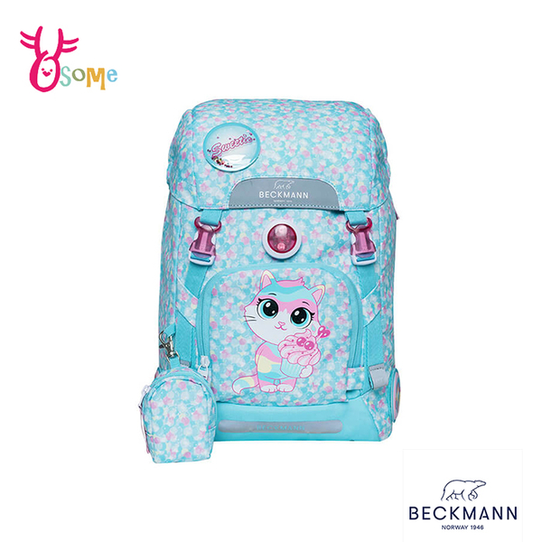 BECKMANN挪威護脊書包 兒童書包 女童背包 後背 減壓 矯正 機能 開學 出遊 22L-甜點喵喵 BB024#水藍