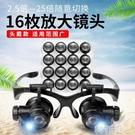 放大鏡 龍眼眼鏡式頭戴放大鏡雙目帶燈修理鐘表10倍15倍20倍25倍高清高倍 韓菲兒