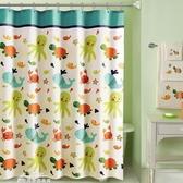 衛生間浴簾套裝浴室遮擋掛簾子隔斷防水窗簾布加厚防黴卡通免打孔『夢娜麗莎』