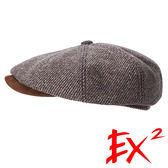 EX2 男款 保暖貝雷帽 364176 (黃卡其) 加厚 保暖 鴨舌帽 護耳 貝雷帽 復古風 畫家帽 羊毛帽 扁帽