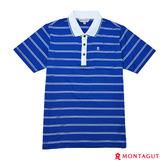 夏季男士短袖POLO衫 夢特嬌藍色細條紋吸濕排汗