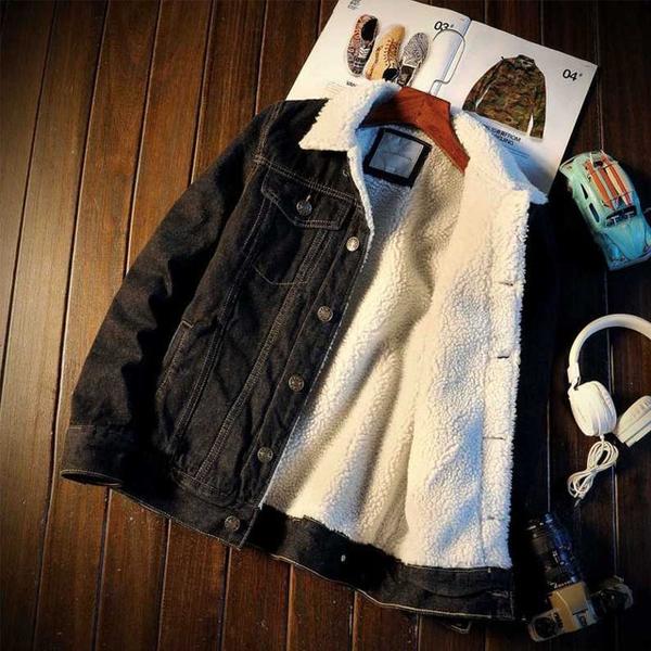Free Shop 經典款單排釦羊羔毛牛仔外套 單寧外套 保暖加絨時尚男女丹寧外套 淺藍深藍黑【QTJBY805】