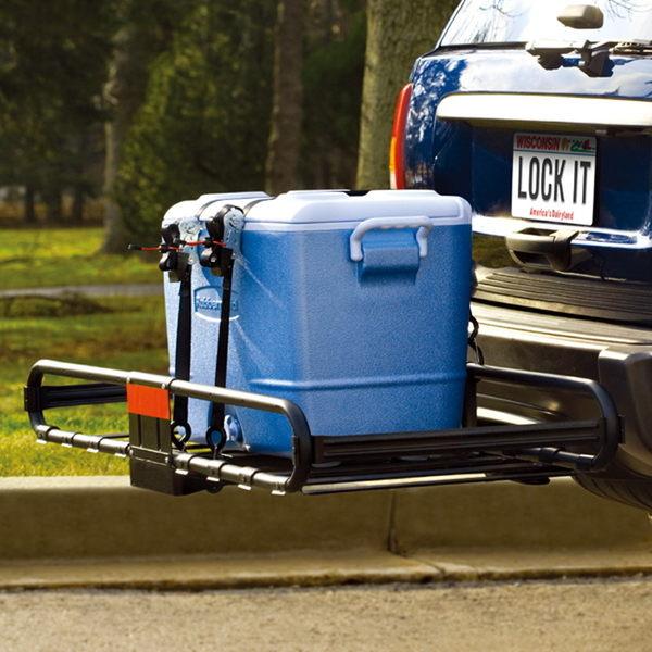 拖贏汽車車尾行李框筐SUV拖車杠自行車行李架方口後拖架越野改裝 igo祕密盒子
