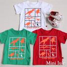 Mini Jule 男童 上衣 框線恐龍印花短袖純棉T恤(共3色) Azio Kids 美國派 童裝