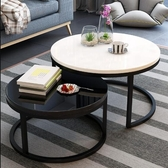 茶几 北歐茶几現代簡約小戶型簡易小茶几家用客廳創意鐵藝玻璃圓形茶几