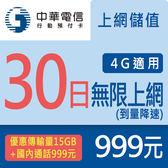 【預付卡/儲值卡】中華電信行動預付卡-4G上網儲值加送國內通話999元(到量降速)