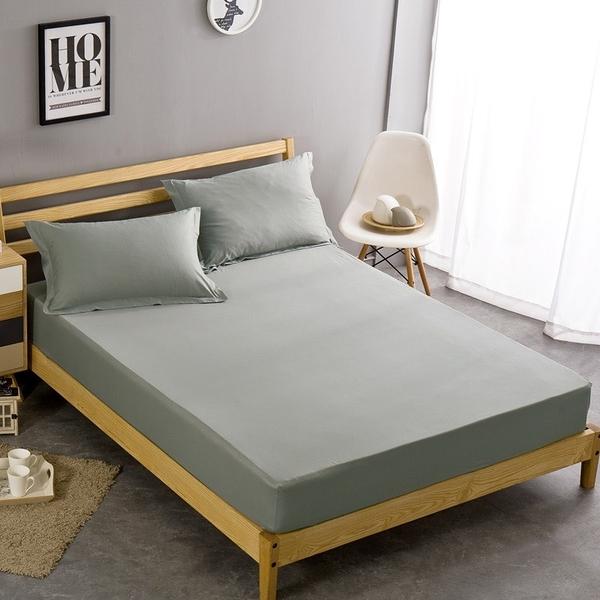 單人|100%防水吸濕排汗床包式保潔墊+枕套三件組《淺灰》