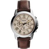FOSSIL 都會羅馬時尚計時腕錶/手錶-灰x深咖啡/44mm FS5214