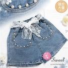 珍珠織花綁帶牛仔短褲熱褲(310147)【水娃娃時尚童裝】