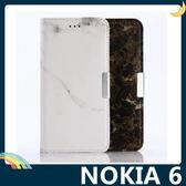 NOKIA 6 大理石紋保護套 皮紋側翻皮套 類磁磚 支架 插卡 磁扣 手機套 手機殼 諾基亞