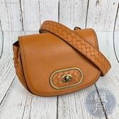 BRAND楓月 Bottega Veneta BV 寶緹嘉 咖橘色 羊皮 編織粗背帶 轉釦設計 馬鞍包 側背小包