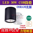 E極亮 【OSRAM歐司朗COB燈珠 】30W 19*19.5公分 LED桶燈 高亮度吸頂筒燈【奇亮科技】含稅