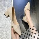 低跟鞋 單鞋女2020夏款中跟百搭韓版尖頭粗跟淺口溫柔鞋氣質仙女鞋
